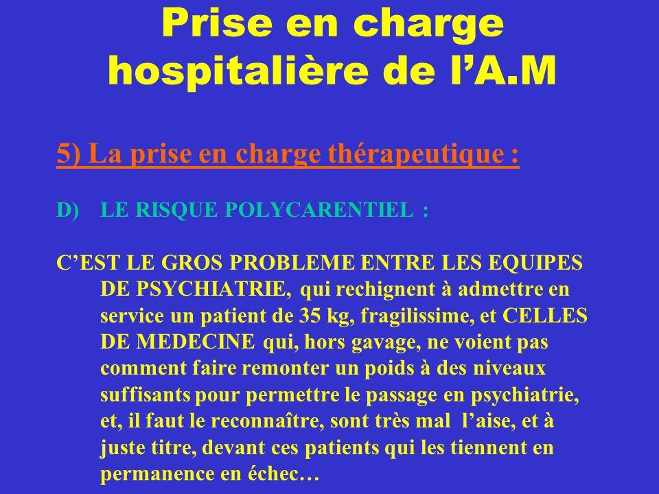 Prise en charge hospitalière de l'A.M 5) La prise en charge thérapeutique : D) LE RISQUE POLYCARENTIEL : C'EST LE GROS PROBLEME ENTRE LES EQUIPES DE P