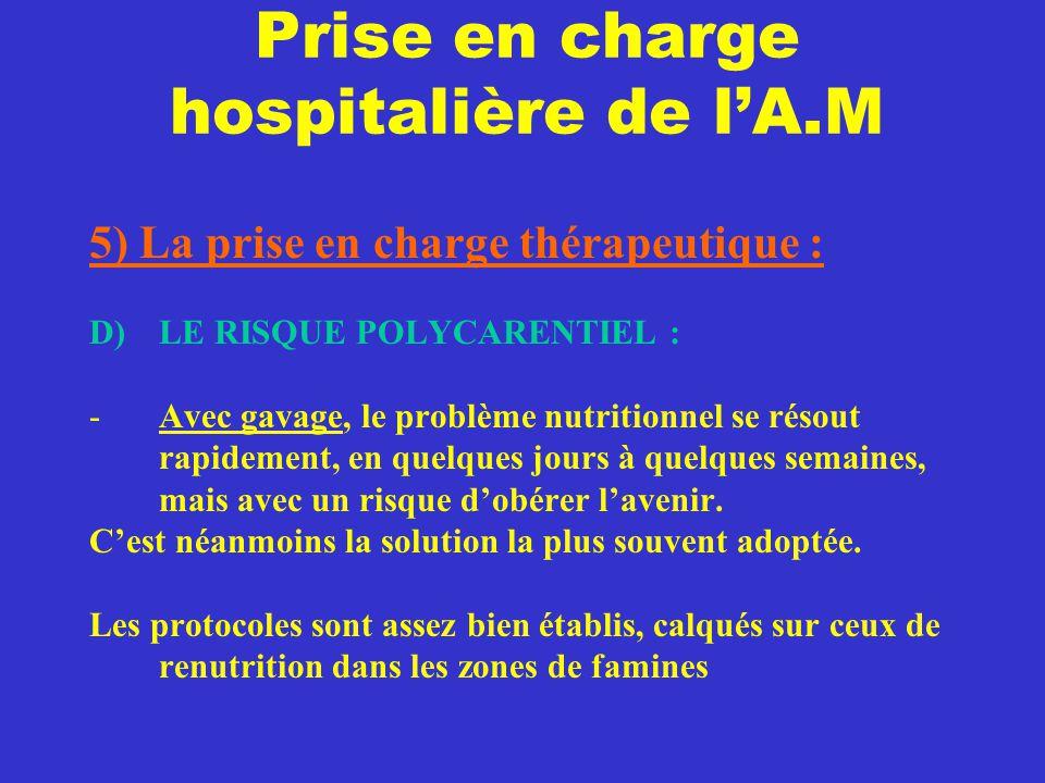 Prise en charge hospitalière de l'A.M 5) La prise en charge thérapeutique : D) LE RISQUE POLYCARENTIEL : -Avec gavage, le problème nutritionnel se rés
