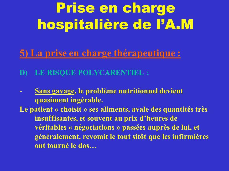 Prise en charge hospitalière de l'A.M 5) La prise en charge thérapeutique : D) LE RISQUE POLYCARENTIEL : -Sans gavage, le problème nutritionnel devien