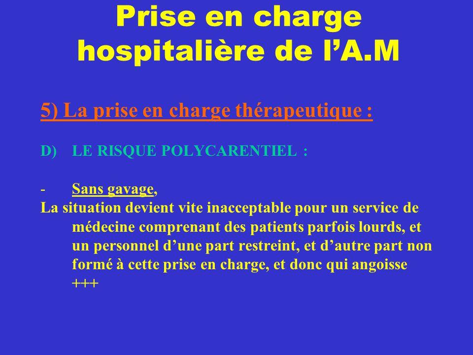 Prise en charge hospitalière de l'A.M 5) La prise en charge thérapeutique : D) LE RISQUE POLYCARENTIEL : -Sans gavage, La situation devient vite inacc