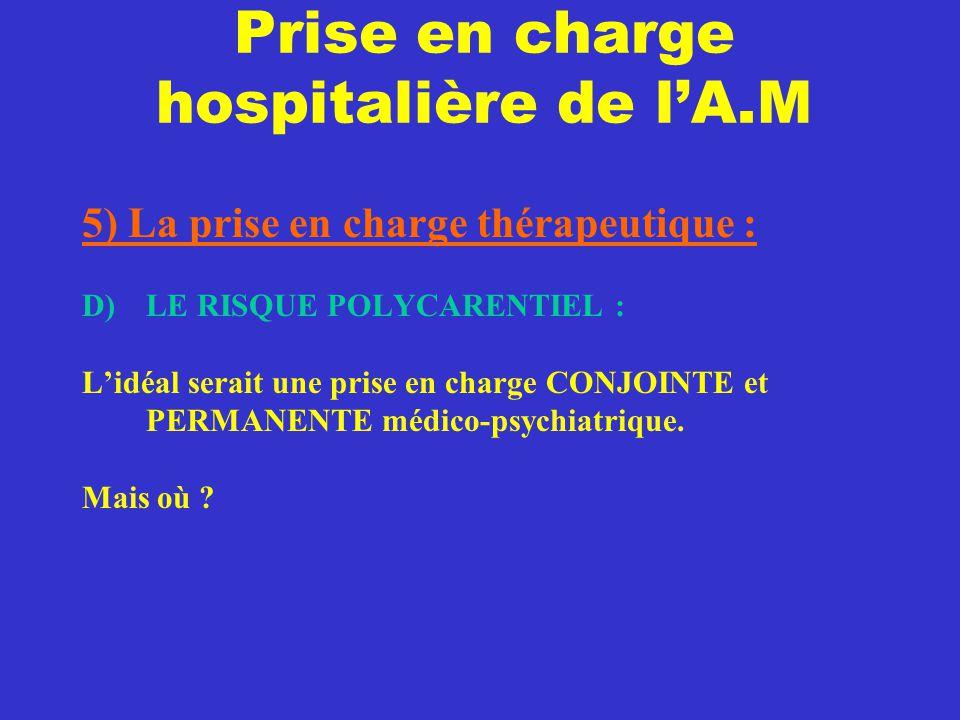 Prise en charge hospitalière de l'A.M 5) La prise en charge thérapeutique : D) LE RISQUE POLYCARENTIEL : L'idéal serait une prise en charge CONJOINTE