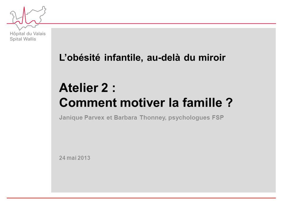 L'obésité infantile, au-delà du miroir Atelier 2 : Comment motiver la famille ? Janique Parvex et Barbara Thonney, psychologues FSP 24 mai 2013