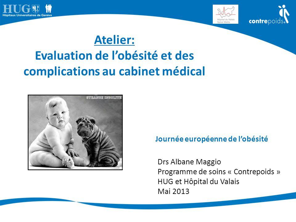 Journée européenne de l'obésité Drs Albane Maggio Programme de soins « Contrepoids » HUG et Hôpital du Valais Mai 2013 Atelier: Evaluation de l'obésit