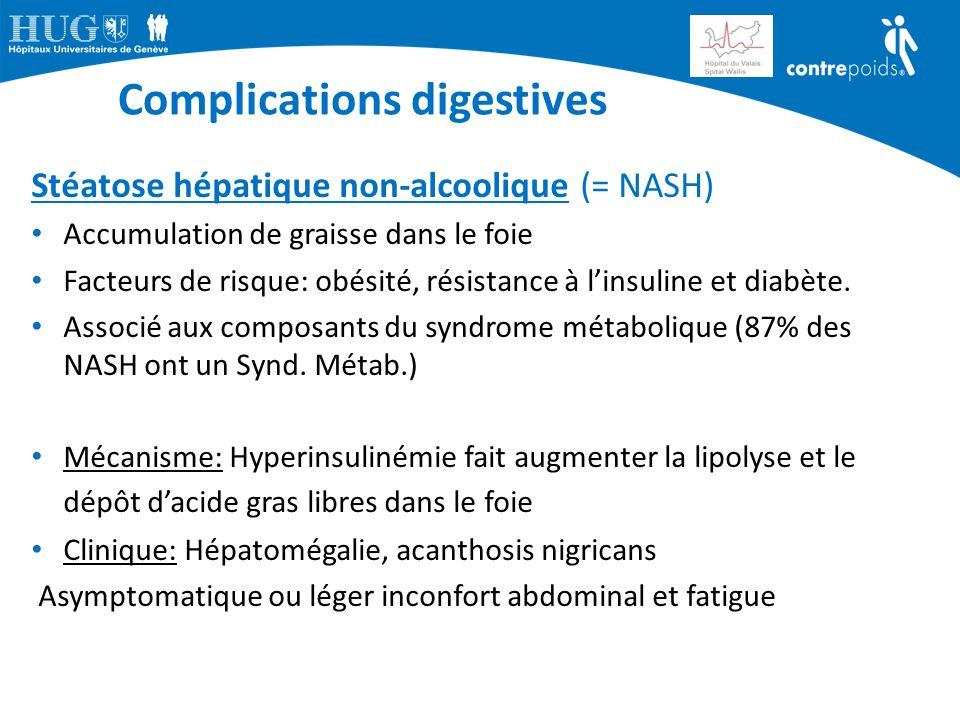 Complications digestives Stéatose hépatique non-alcoolique (= NASH) Accumulation de graisse dans le foie Facteurs de risque: obésité, résistance à l'i