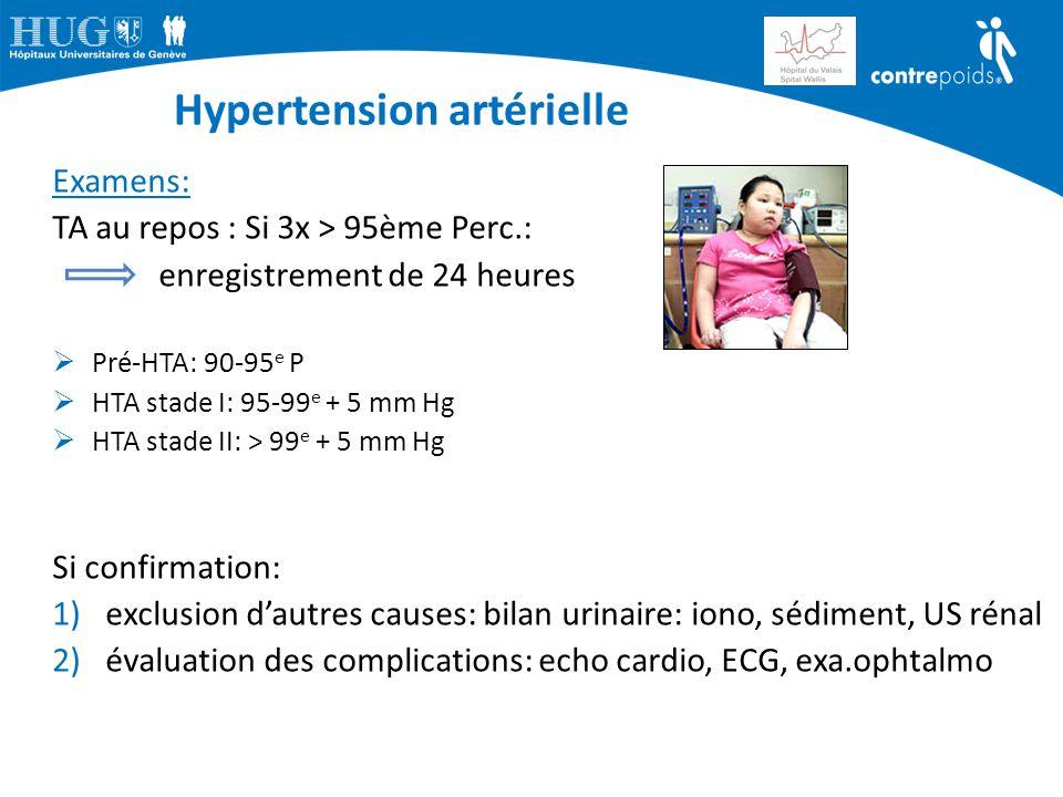 Hypertension artérielle Examens: TA au repos : Si 3x > 95ème Perc.: enregistrement de 24 heures  Pré-HTA: 90-95 e P  HTA stade I: 95-99 e + 5 mm Hg