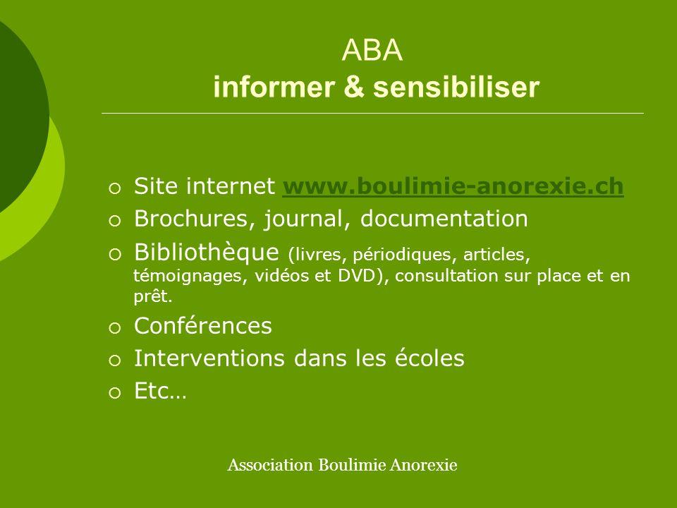 ABA regrouper les compétences  Construire une plateforme romande  Travailler en réseau  Partager et améliorer les connaissances  Encourager une amélioration des soins Association Boulimie Anorexie