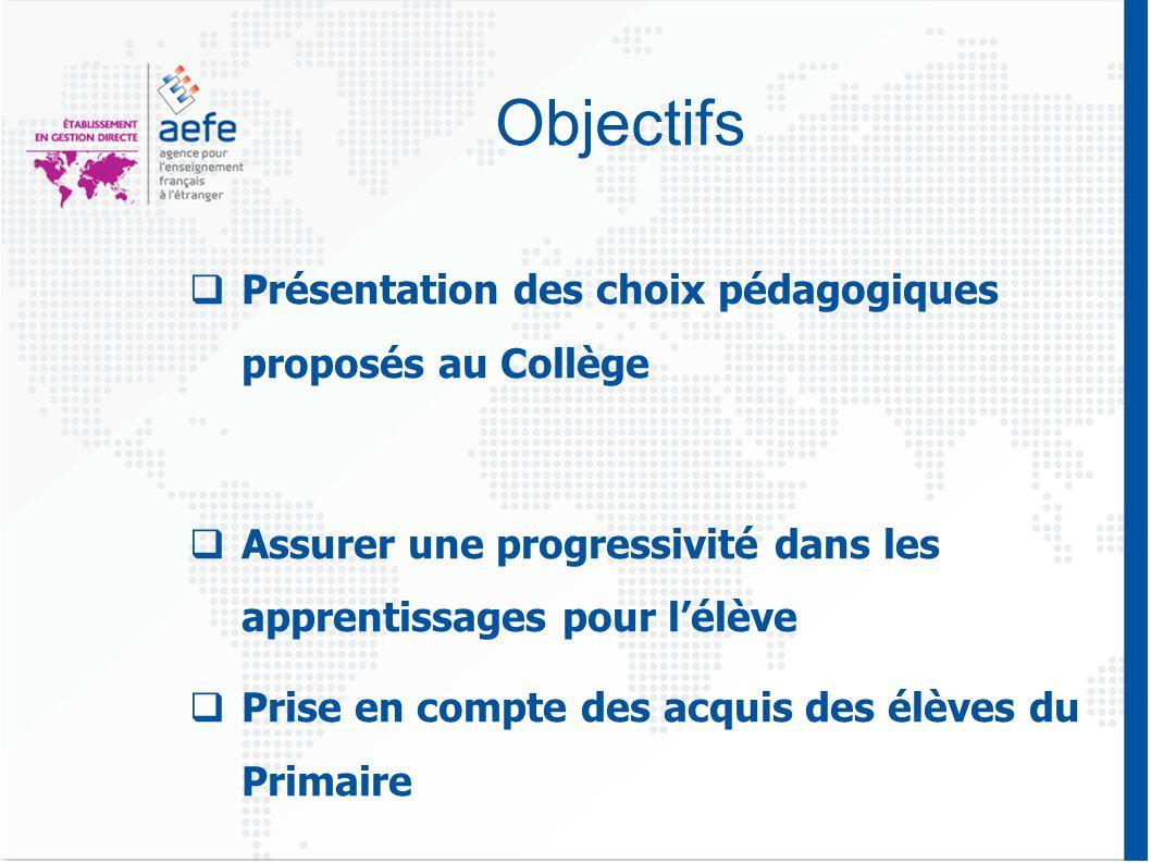 Objectifs  Présentation des choix pédagogiques proposés au Collège  Assurer une progressivité dans les apprentissages pour l'élève  Prise en compte des acquis des élèves du Primaire