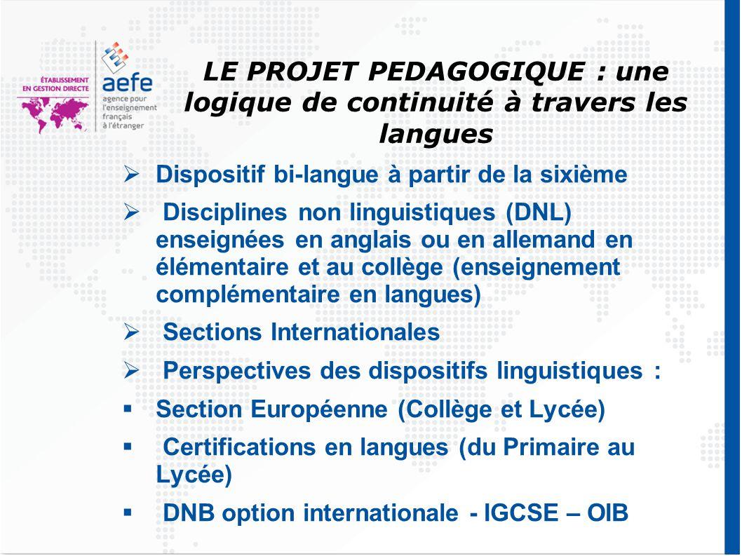 LE PROJET PEDAGOGIQUE : une logique de continuité à travers les langues  Dispositif bi-langue à partir de la sixième  Disciplines non linguistiques (DNL) enseignées en anglais ou en allemand en élémentaire et au collège (enseignement complémentaire en langues)  Sections Internationales  Perspectives des dispositifs linguistiques :  Section Européenne (Collège et Lycée)  Certifications en langues (du Primaire au Lycée)  DNB option internationale - IGCSE – OIB