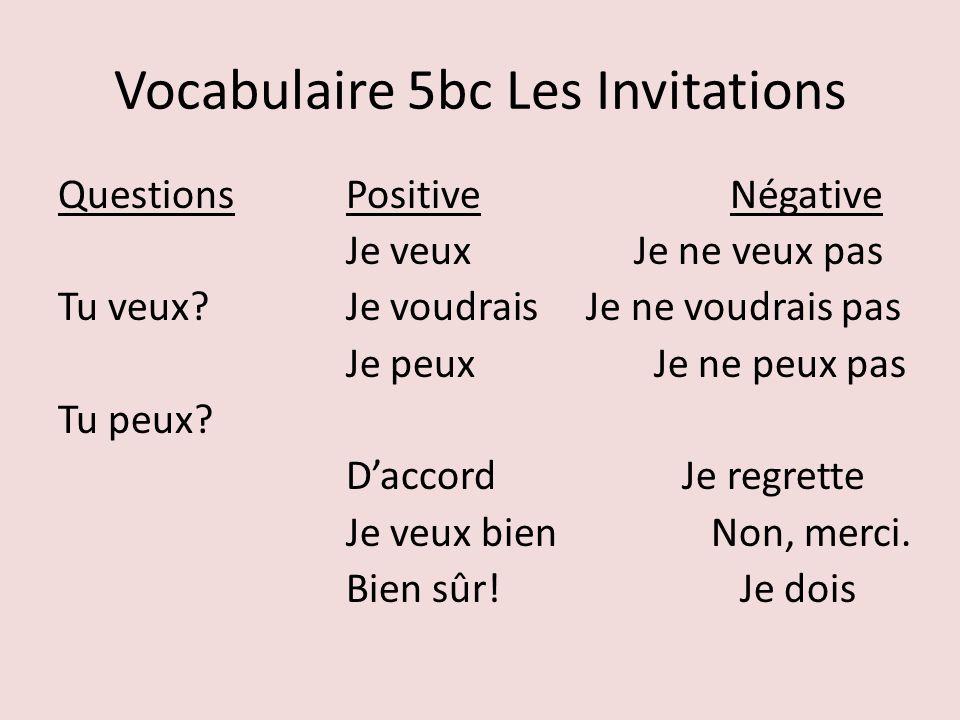 Vocabulaire 5bc Les Invitations QuestionsPositiveNégative Je veuxJe ne veux pas Tu veux?Je voudrais Je ne voudrais pas Je peux Je ne peux pas Tu peux?