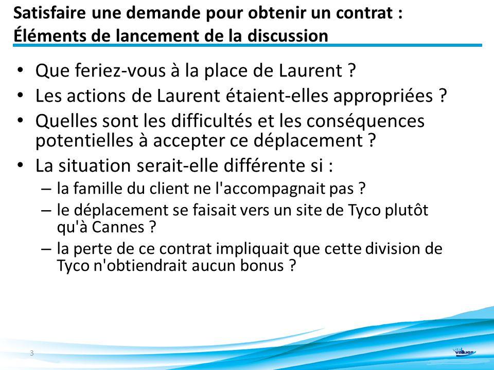 Satisfaire une demande pour obtenir un contrat : Éléments de lancement de la discussion Que feriez-vous à la place de Laurent .