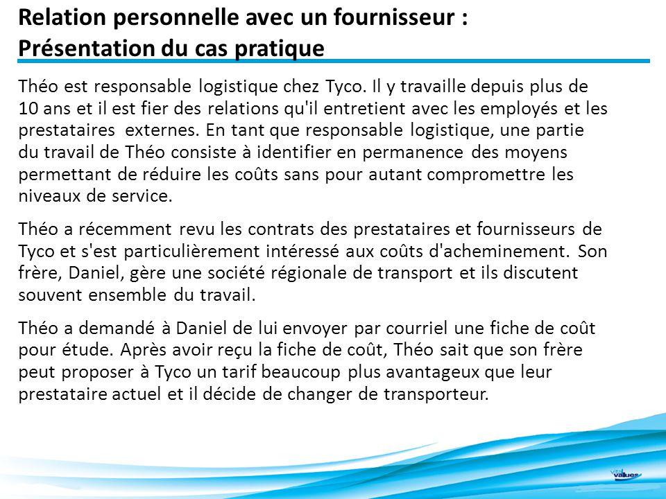 Relation personnelle avec un fournisseur : Présentation du cas pratique Théo est responsable logistique chez Tyco.
