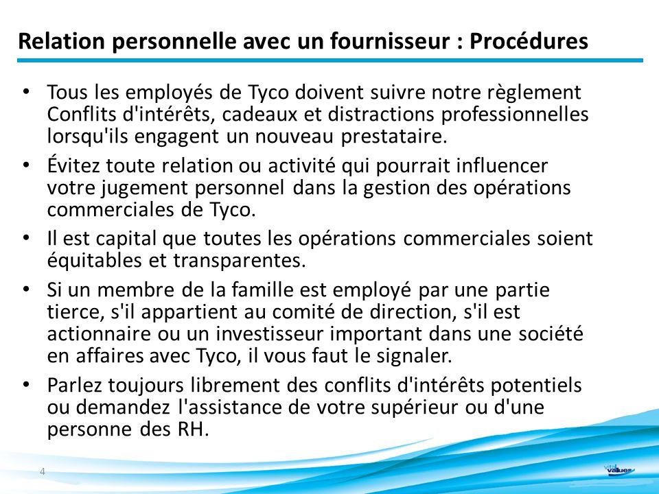 Relation personnelle avec un fournisseur : Procédures Tous les employés de Tyco doivent suivre notre règlement Conflits d intérêts, cadeaux et distractions professionnelles lorsqu ils engagent un nouveau prestataire.