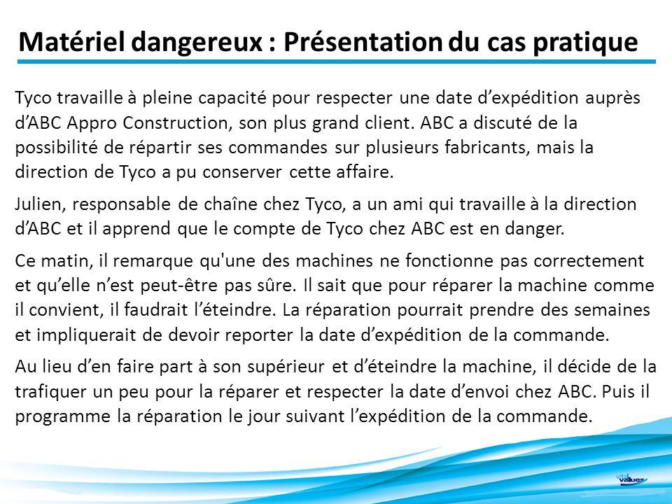 Matériel dangereux : Présentation du cas pratique Tyco travaille à pleine capacité pour respecter une date d'expédition auprès d'ABC Appro Construction, son plus grand client.