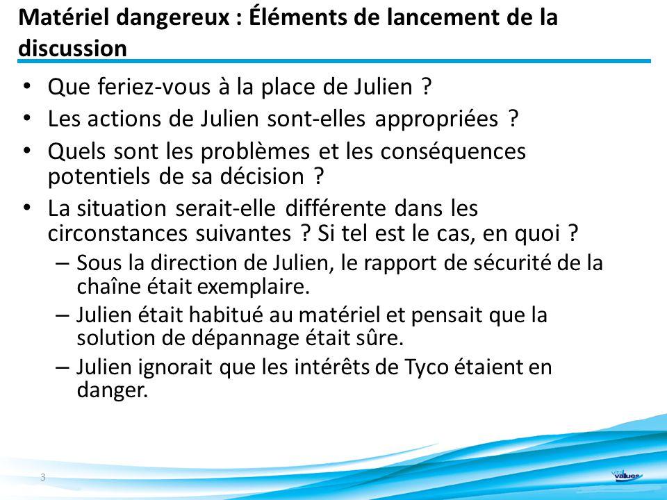 Matériel dangereux : Éléments de lancement de la discussion Que feriez-vous à la place de Julien .