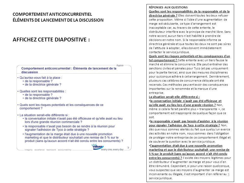 AFFICHEZ CETTE DIAPOSITIVE : COMPORTEMENT ANTICONCURRENTIEL ÉLÉMENTS DE LANCEMENT DE LA DISCUSSION RÉPONSES AUX QUESTIONS Quelles sont les responsabil