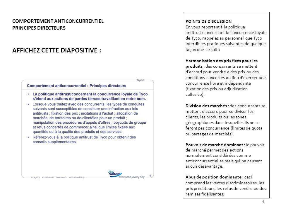 AFFICHEZ CETTE DIAPOSITIVE : COMPORTEMENT ANTICONCURRENTIEL PRINCIPES DIRECTEURS POINTS DE DISCUSSION En vous reportant à la politique antitrust/conce