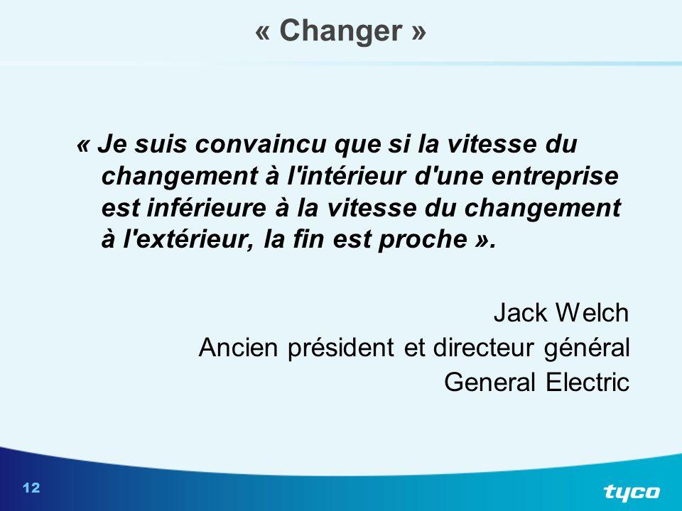 12 « Changer » « Je suis convaincu que si la vitesse du changement à l'intérieur d'une entreprise est inférieure à la vitesse du changement à l'extéri