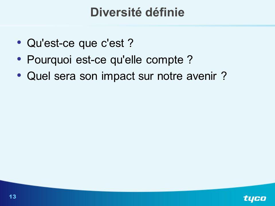 13 Diversité définie Qu'est-ce que c'est ? Pourquoi est-ce qu'elle compte ? Quel sera son impact sur notre avenir ?