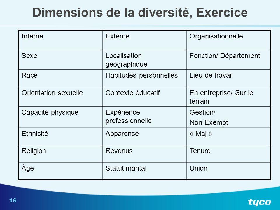 16 Dimensions de la diversité, Exercice InterneExterneOrganisationnelle SexeLocalisation géographique Fonction/ Département RaceHabitudes personnelles