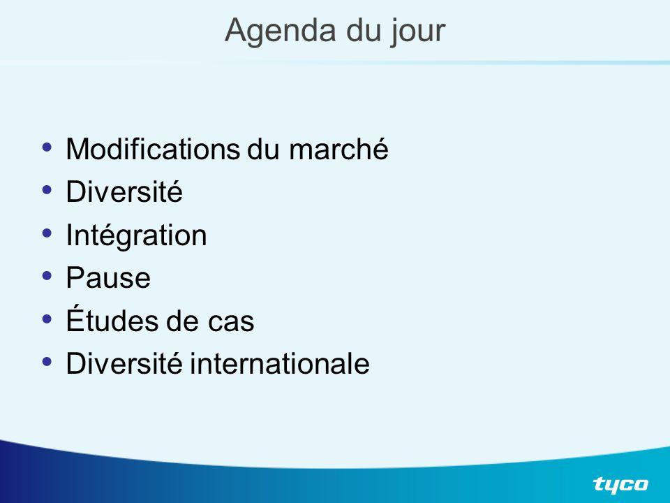 Agenda du jour Modifications du marché Diversité Intégration Pause Études de cas Diversité internationale
