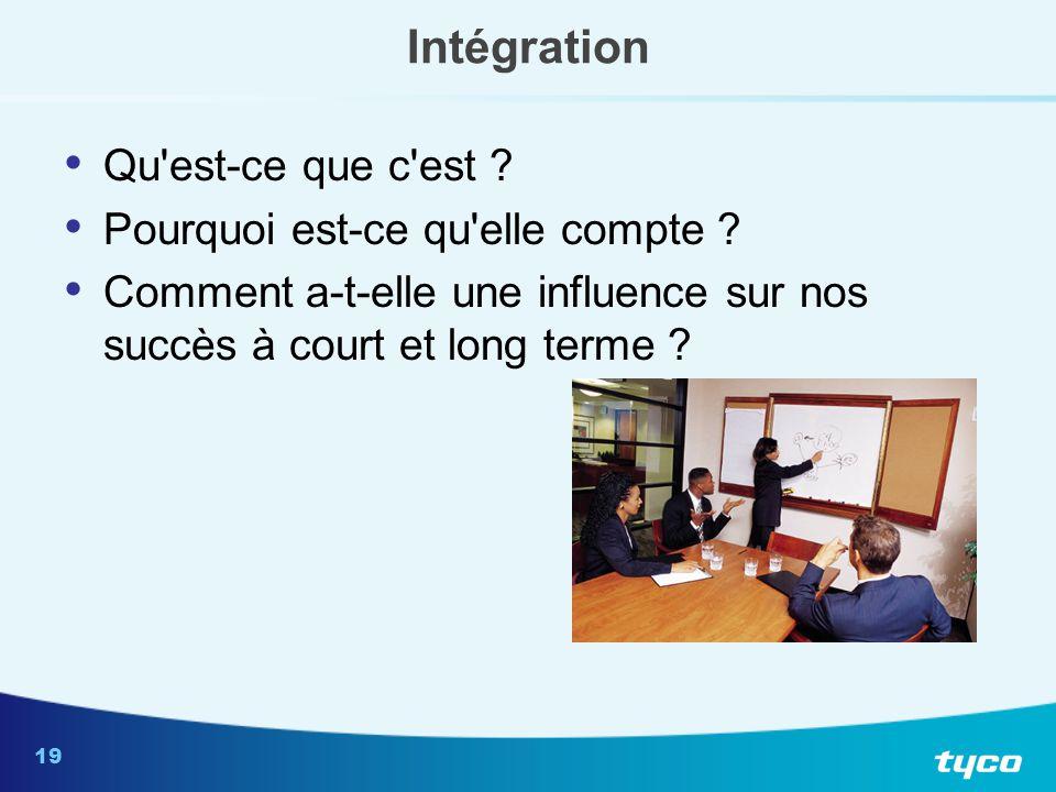 19 Intégration Qu'est-ce que c'est ? Pourquoi est-ce qu'elle compte ? Comment a-t-elle une influence sur nos succès à court et long terme ?
