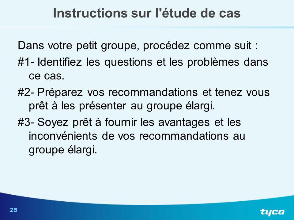 25 Instructions sur l'étude de cas Dans votre petit groupe, procédez comme suit : #1- Identifiez les questions et les problèmes dans ce cas. #2- Prépa