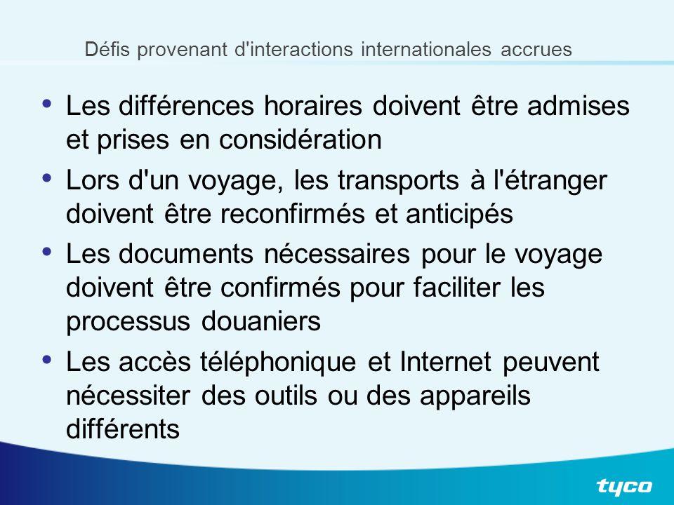 Défis provenant d'interactions internationales accrues Les différences horaires doivent être admises et prises en considération Lors d'un voyage, les