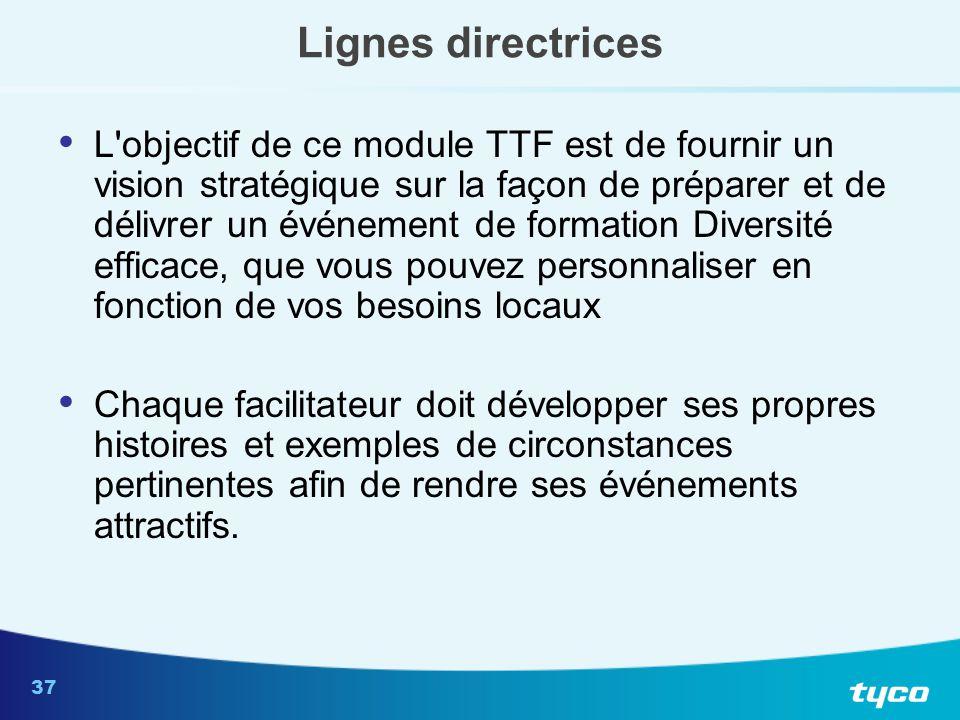 37 Lignes directrices L'objectif de ce module TTF est de fournir un vision stratégique sur la façon de préparer et de délivrer un événement de formati