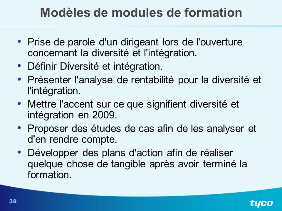 39 Modèles de modules de formation Prise de parole d'un dirigeant lors de l'ouverture concernant la diversité et l'intégration. Définir Diversité et i