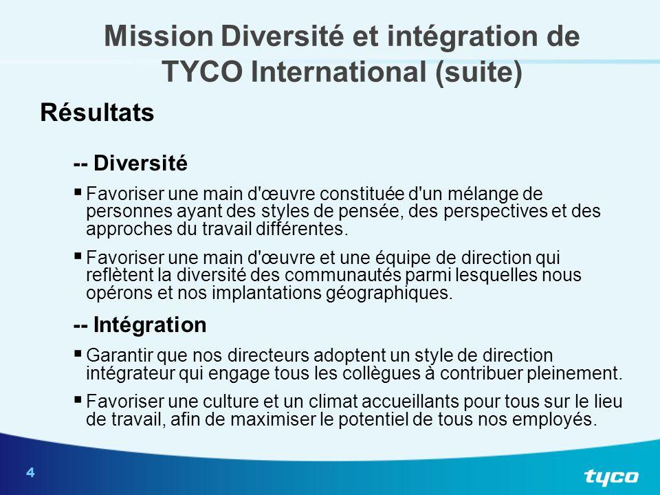 4 Mission Diversité et intégration de TYCO International (suite) Résultats -- Diversité  Favoriser une main d'œuvre constituée d'un mélange de person