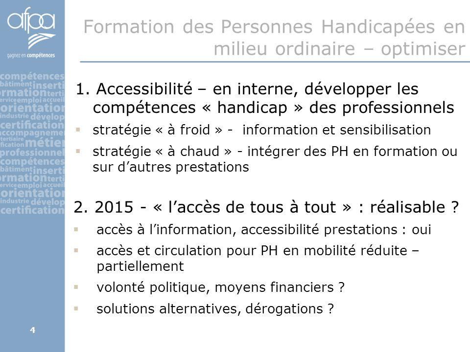 4 Formation des Personnes Handicapées en milieu ordinaire – optimiser 2.