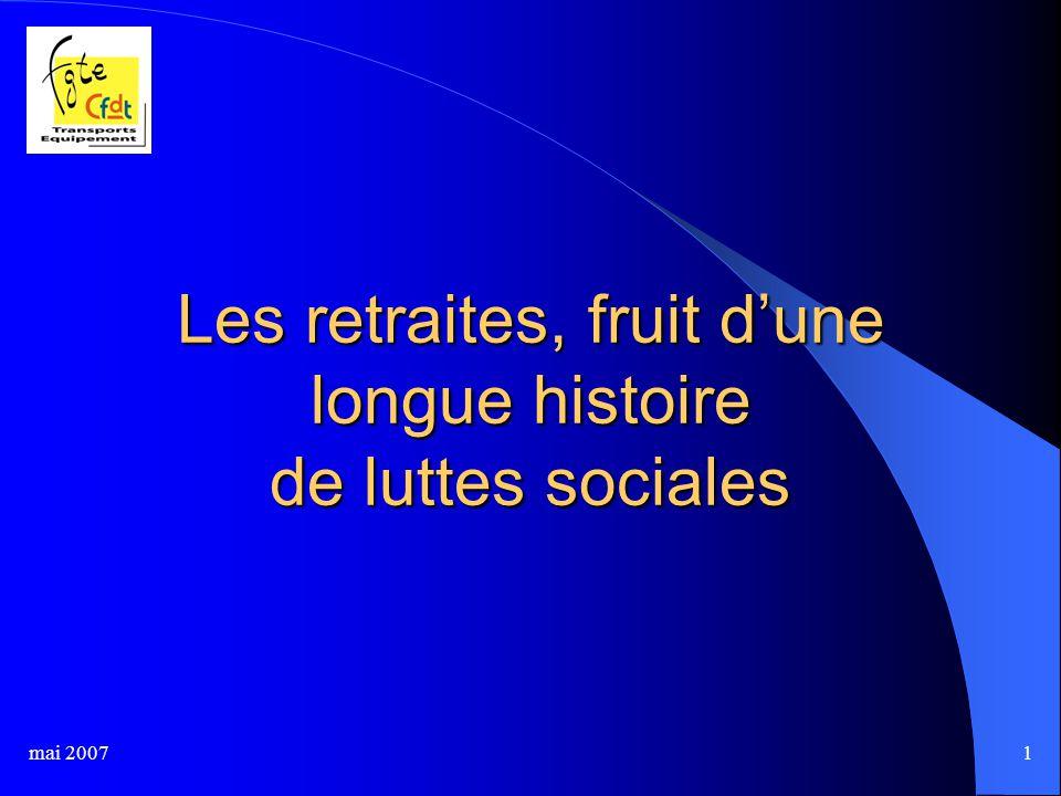 mai 20071 Les retraites, fruit d'une longue histoire de luttes sociales