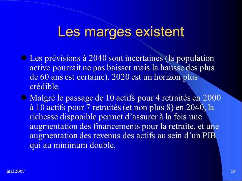 mai 200719 Les marges existent Les prévisions à 2040 sont incertaines (la population active pourrait ne pas baisser mais la hausse des plus de 60 ans est certaine).