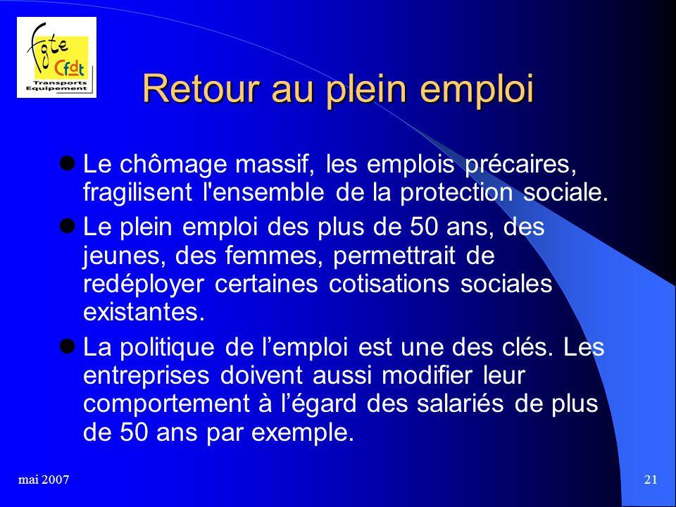 mai 200721 Retour au plein emploi Le chômage massif, les emplois précaires, fragilisent l ensemble de la protection sociale.