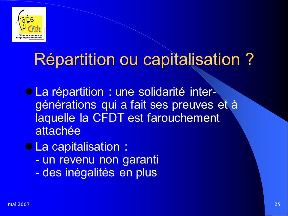 mai 200725 Répartition ou capitalisation .