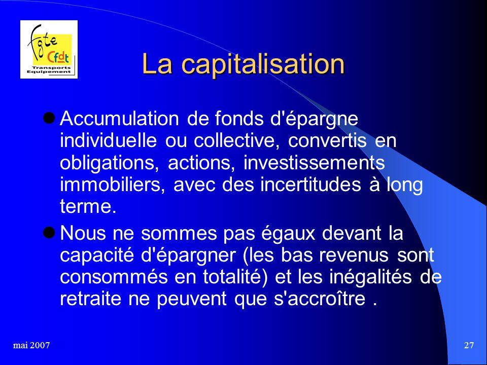 mai 200727 La capitalisation Accumulation de fonds d'épargne individuelle ou collective, convertis en obligations, actions, investissements immobilier