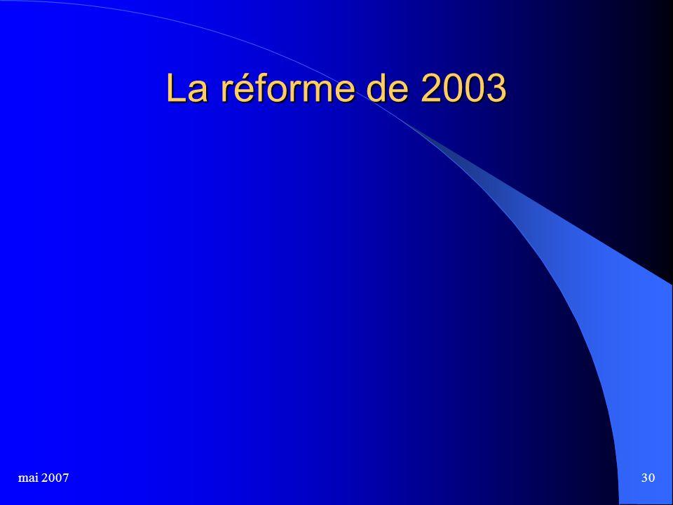 mai 200730 La réforme de 2003