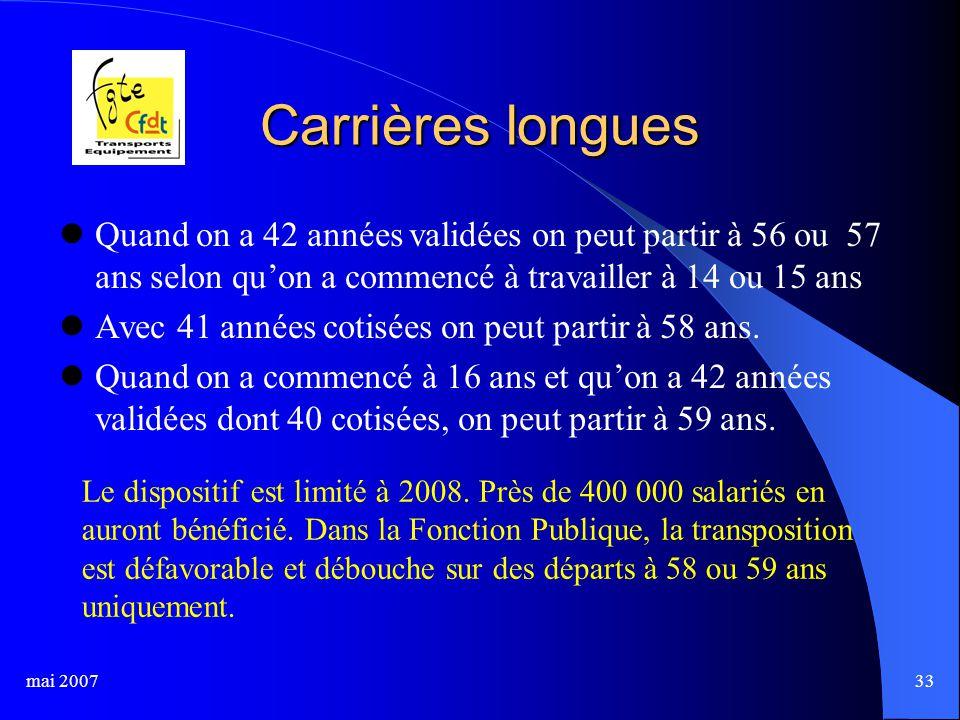 mai 200733 Carrières longues Quand on a 42 années validées on peut partir à 56 ou 57 ans selon qu'on a commencé à travailler à 14 ou 15 ans Avec 41 années cotisées on peut partir à 58 ans.