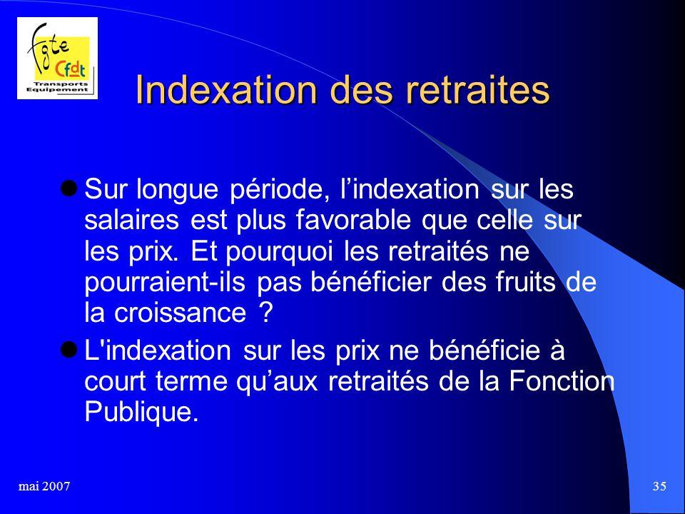 mai 200735 Indexation des retraites Sur longue période, l'indexation sur les salaires est plus favorable que celle sur les prix.