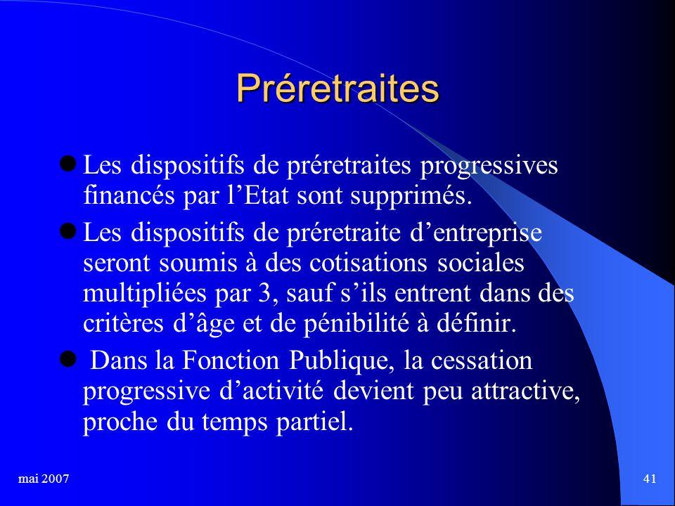 mai 200741 Préretraites Les dispositifs de préretraites progressives financés par l'Etat sont supprimés.