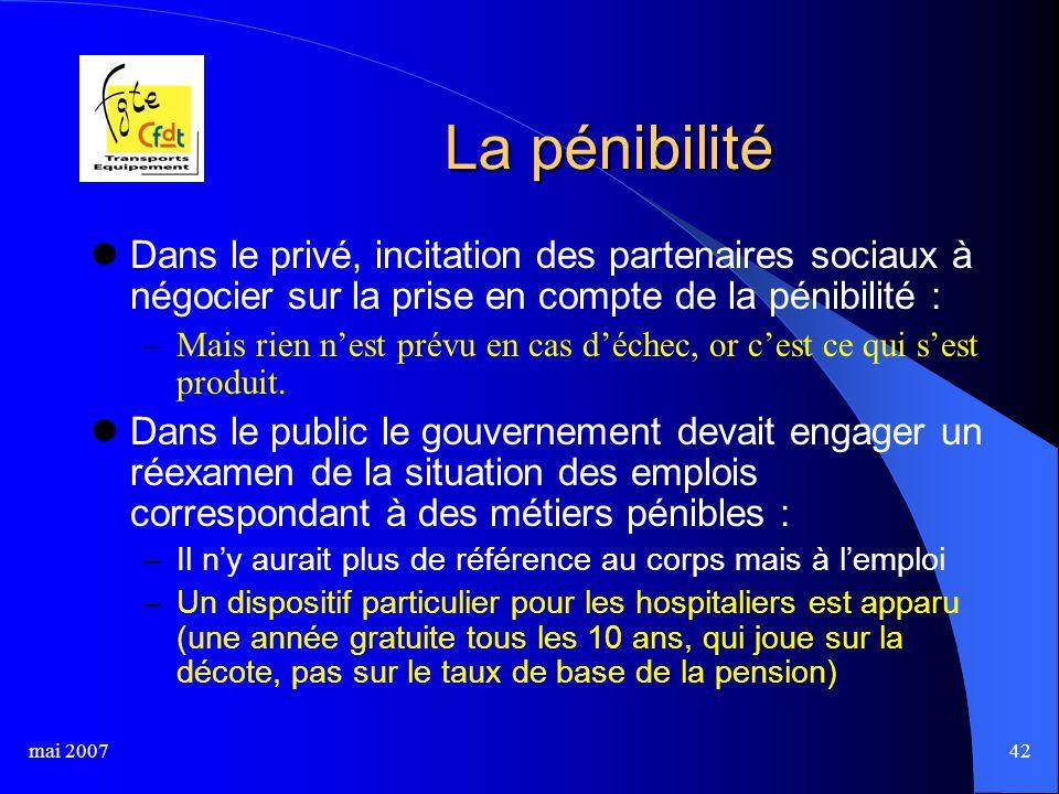 mai 200742 La pénibilité Dans le privé, incitation des partenaires sociaux à négocier sur la prise en compte de la pénibilité : –Mais rien n'est prévu en cas d'échec, or c'est ce qui s'est produit.