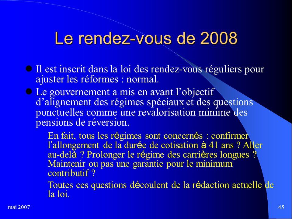 mai 200745 Le rendez-vous de 2008 Il est inscrit dans la loi des rendez-vous réguliers pour ajuster les réformes : normal.