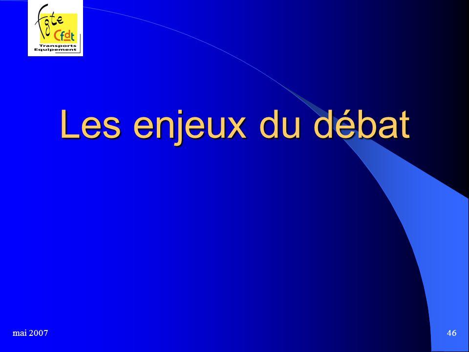 mai 200746 Les enjeux du débat