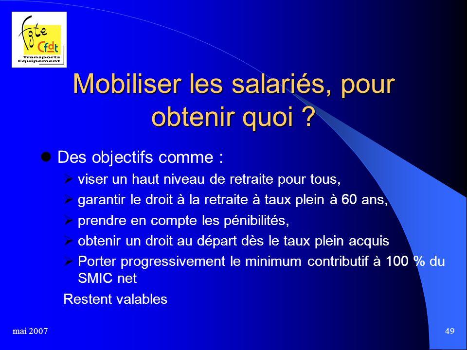 mai 200749 Mobiliser les salariés, pour obtenir quoi .