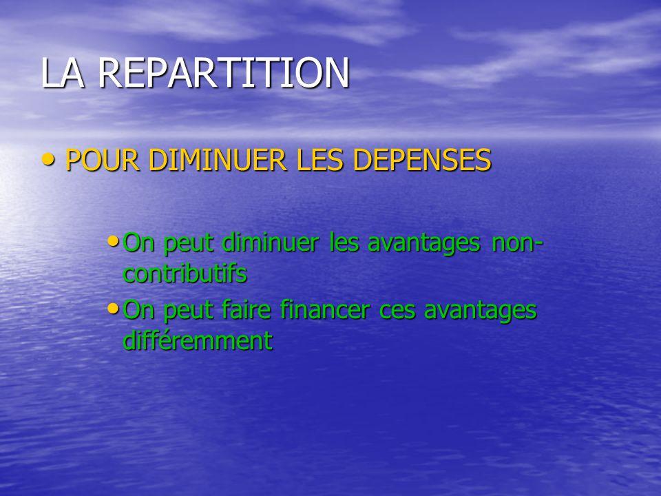 LA REPARTITION POUR DIMINUER LES DEPENSES POUR DIMINUER LES DEPENSES On peut diminuer les avantages non- contributifs On peut diminuer les avantages non- contributifs On peut faire financer ces avantages différemment On peut faire financer ces avantages différemment