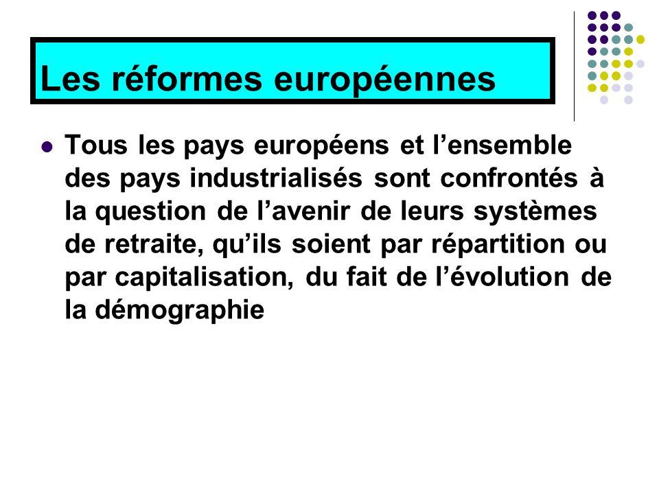 Les réformes européennes Tous les pays européens et l'ensemble des pays industrialisés sont confrontés à la question de l'avenir de leurs systèmes de retraite, qu'ils soient par répartition ou par capitalisation, du fait de l'évolution de la démographie