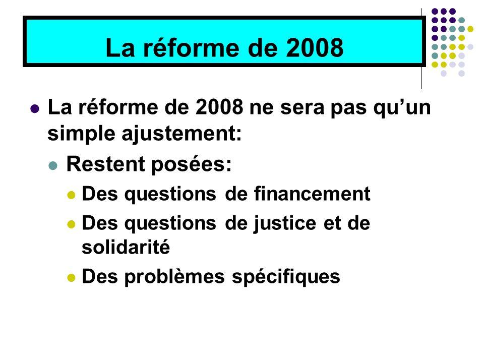 La réforme de 2008 La réforme de 2008 ne sera pas qu'un simple ajustement: Restent posées: Des questions de financement Des questions de justice et de solidarité Des problèmes spécifiques