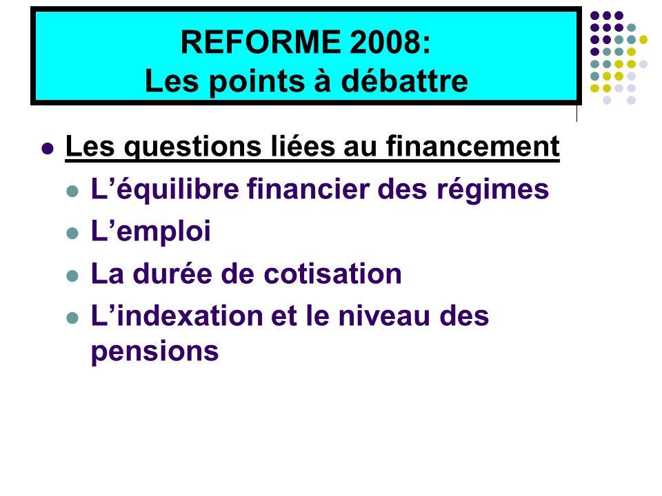 REFORME 2008: Les points à débattre Les questions liées au financement L'équilibre financier des régimes L'emploi La durée de cotisation L'indexation et le niveau des pensions