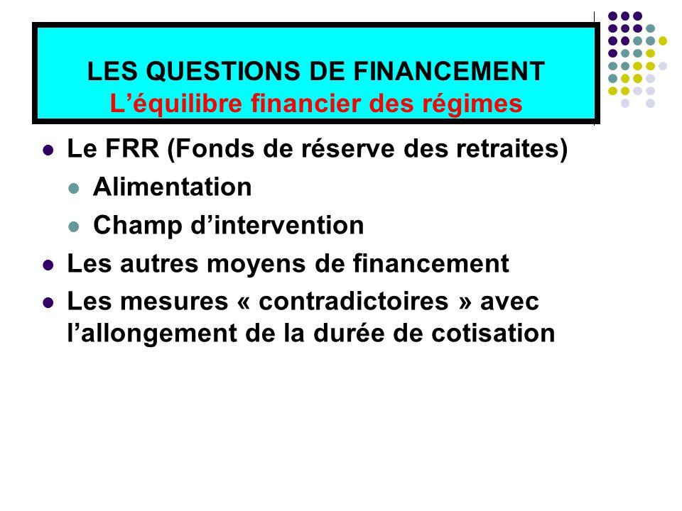 LES QUESTIONS DE FINANCEMENT L'équilibre financier des régimes Le FRR (Fonds de réserve des retraites) Alimentation Champ d'intervention Les autres moyens de financement Les mesures « contradictoires » avec l'allongement de la durée de cotisation