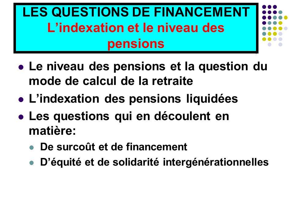 LES QUESTIONS DE FINANCEMENT L'indexation et le niveau des pensions Le niveau des pensions et la question du mode de calcul de la retraite L'indexation des pensions liquidées Les questions qui en découlent en matière: De surcoût et de financement D'équité et de solidarité intergénérationnelles